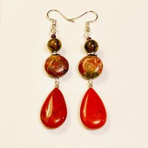 Picasso Jasper Dragons Veins & Red Agate Earrings